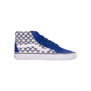 218649ba4c Vans Blue Supreme Checkerboard Sk8 Hi – On The Arm