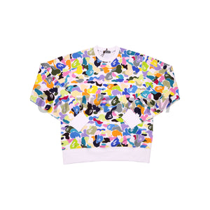 Bape White Multi Color Camo Crew