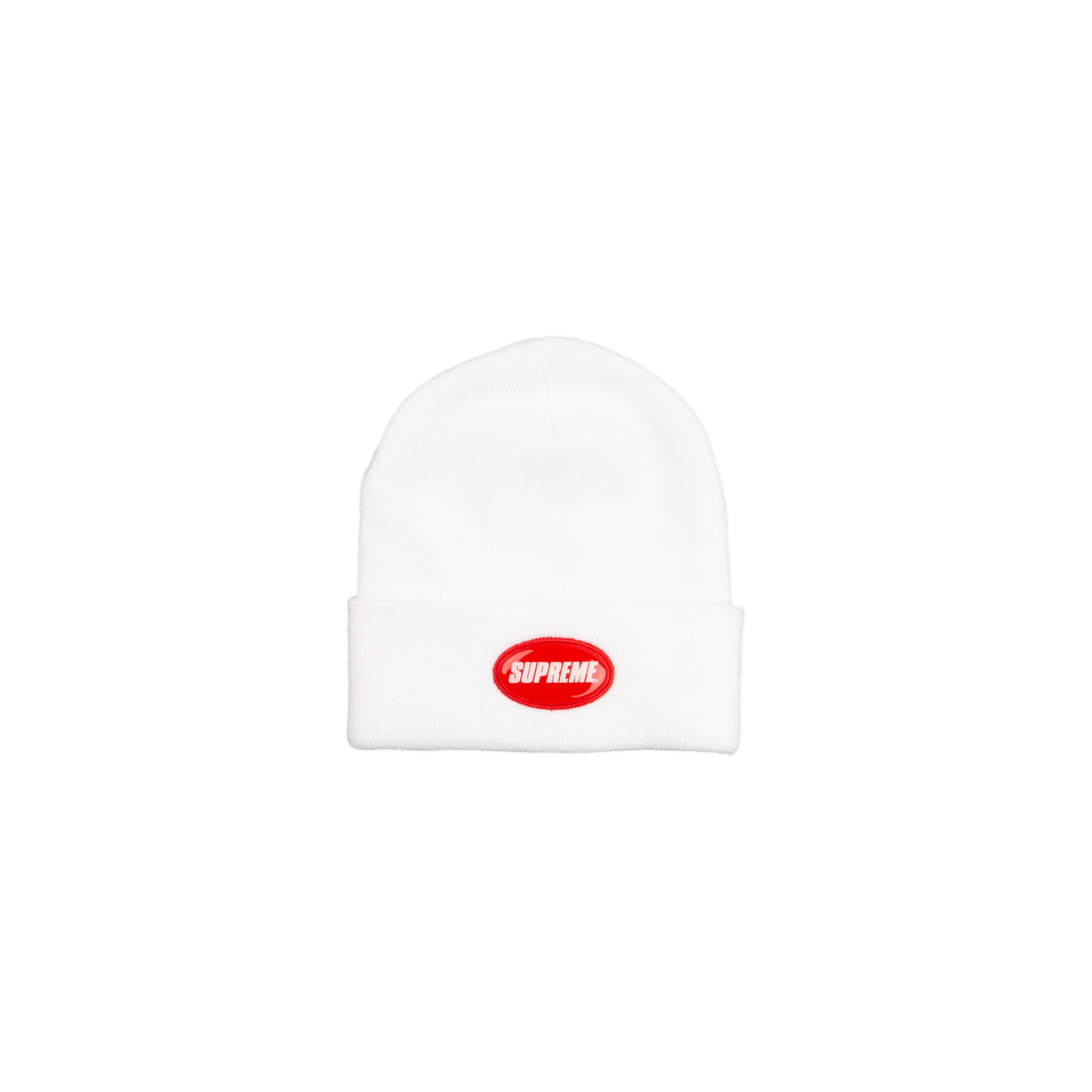 Supreme White Rubber Patch Beanie