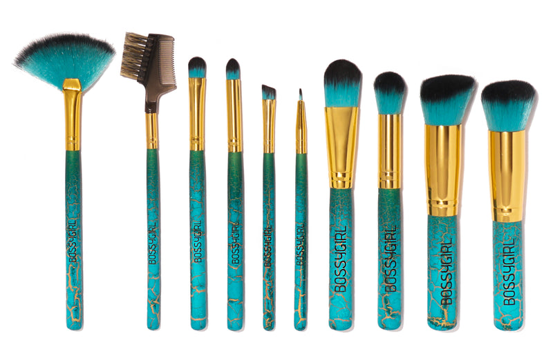 Bahama 10-Piece Makeup Brush Set by Bossy Girl Cosmetics ; cruelty-free beauty