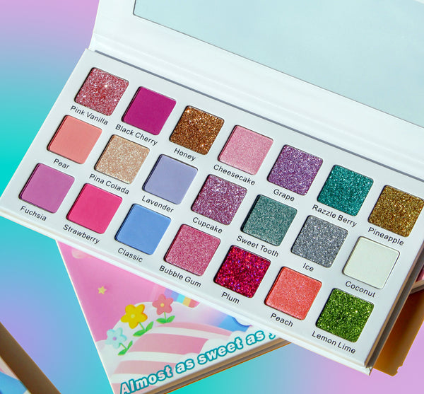 Cotton Candy Eyeshadow palette by Bossy Girl Cosmetics. Cotton Candy includes 9-pressed glitters, 7 beautiful matte pastels, and 5 shimmery shades. Add some fun to your makeup routine.