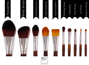 Kona 10-Piece Professional Makeup Brush Set Guide by Bossy Girl Cosmetics