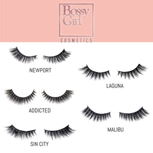 Newport Beach Silk Eyelashes guide by Bossy Girl Cosmetics , faux mink