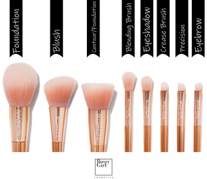Rose 8-Piece Brush Set Guide by Bossy Girl Cosmetics ; soft, cruelty-free makeup brushes