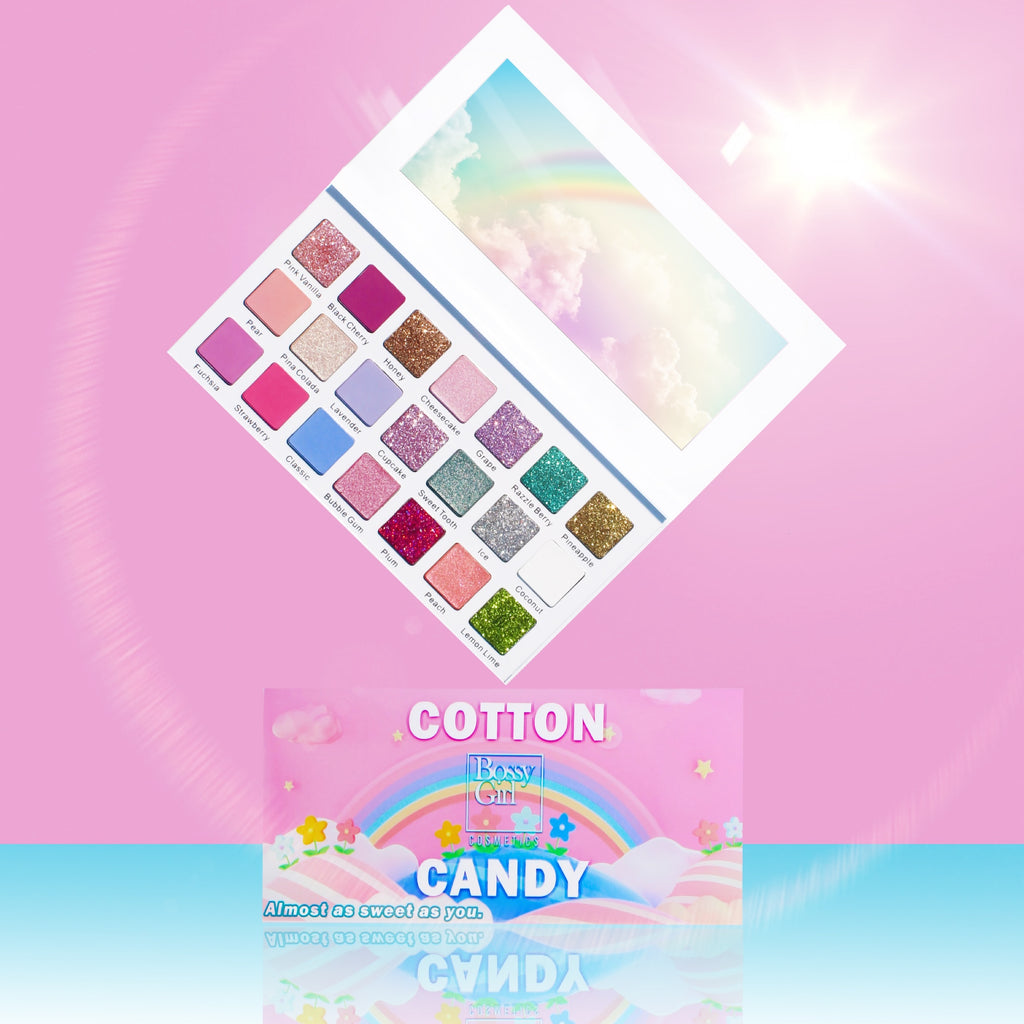 Cotton Candy best eyeshadow palette by Bossy Girl Cosmetics Cotton Candy includes 9-pressed glitters, 7 beautiful matte pastels, and 5 shimmery shades that are all crueltyfree.