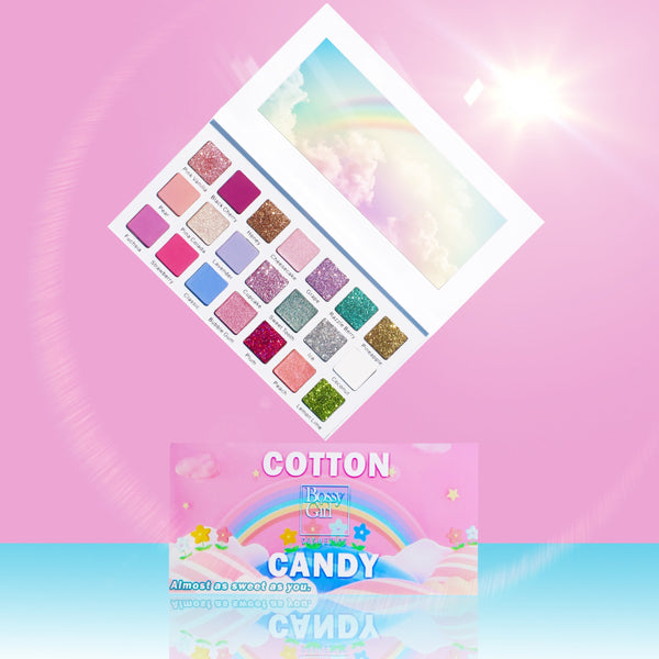 Cotton Candy Eyeshadow Palette by Bossy Girl Cosmetics trending beauty products that are crueltyfree - glitter pink and shimmery shadows