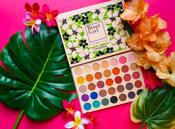 Bossy Girl Cosmetics Ohana Eyeshadow Palette - tropical makeup cruelty free vegan colorful affordable luxury Hawaii nars kyliecosmetics hudabeauty