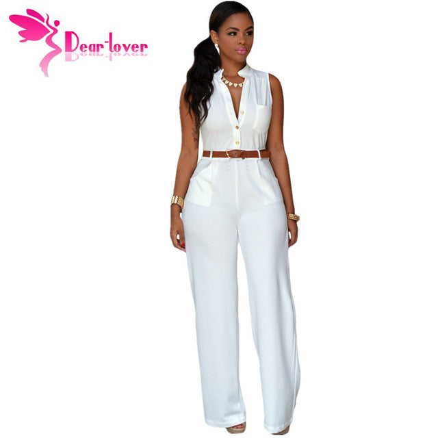 d2598c658ee Dearlover Fashion Big Women Sleeveless Maxi Overalls Belted Wide Leg  Jumpsuit 7 Colors S-2Xl