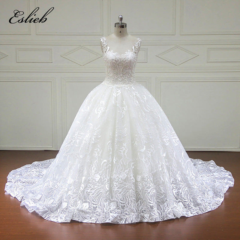 Stunning Pearls Crystal Ball Gown Cap Sleeves Wedding Dress Illusion ...