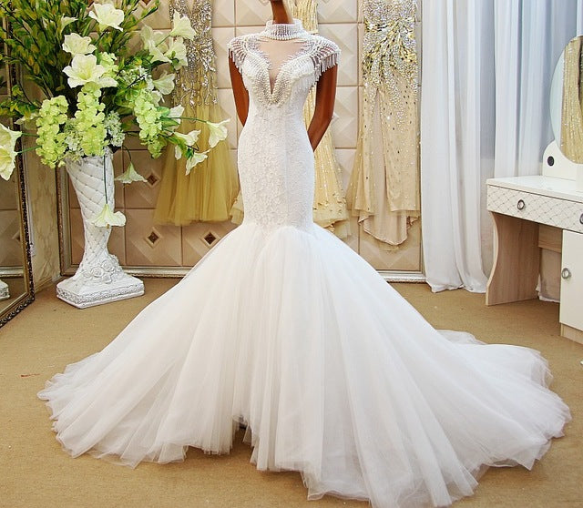 LS61278 hand working beaded mermaid wedding dress cap sleeve tulle ...