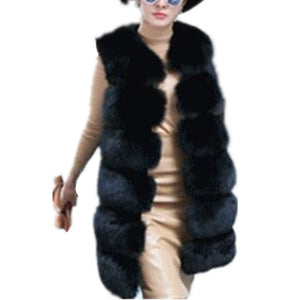 Women's Faux Fox Fur Vest Long Fur Jacket Warm