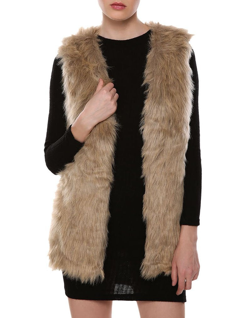 Women Faux Fur Waistcoat Vest Gilet Outwear Coat Mid-Long Jacket