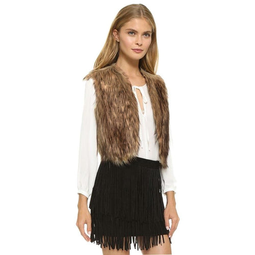 Womens Long Faux Fur Vest