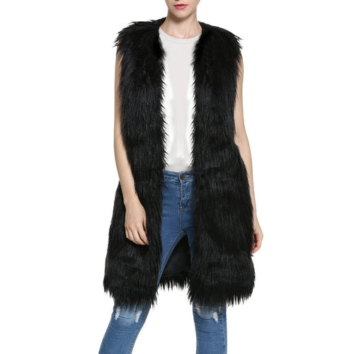 Women Long Fluffy Faux Fur Vest Winter Warm