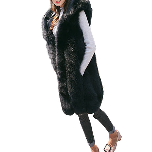 Pengy Clearence!!! Fashion Women Hoodie Long Faux Fur Vest
