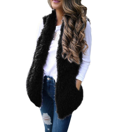 Sexy Faux Fur Casual Long Black Faux Fur Vest With Pockets