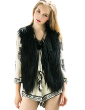 Romanstii Casual Black Long Faux Fur Vest