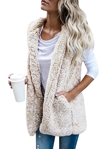 Fuzzy Long faux Fur Vest Hoodies Open Front Cardigan Outerwear