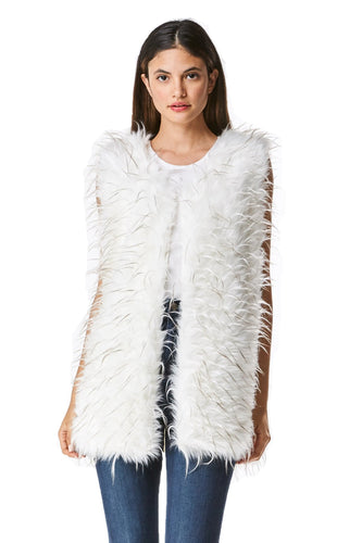 GoodCape KRYSTAL Series Women's White Long faux Fur Vest