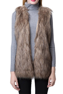 Escalier Women Long Faux Fur Vest Waistcoat Sleeveless Jacket