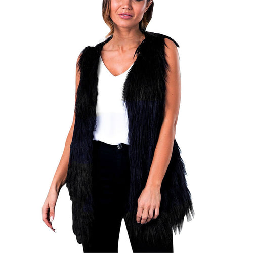 KuoShun Clearance Womens Black faux Fur Vest Vest Plus Size