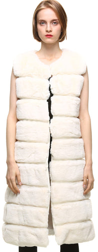 Classic Faux Fur Rex Rabbit Autumn Winter Warm Long Faux Fur Vest