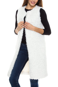 KLKD Women's Faux Fur Open Front Long Faux Fur Vest Cardigan