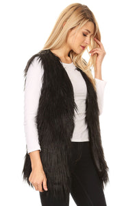 Sunny Love Women's Black faux Fur Vest