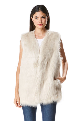 Women's Solid Pattern Long Faux Fur Vest with Side Pocket