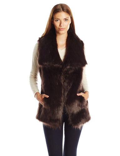 Via Spiga Women's Black Long Faux Fur Vest