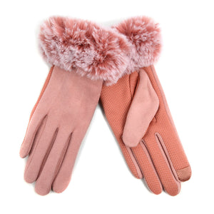 Ladies' Non-Slip Grip Gloves with Faux Fur Cuffs