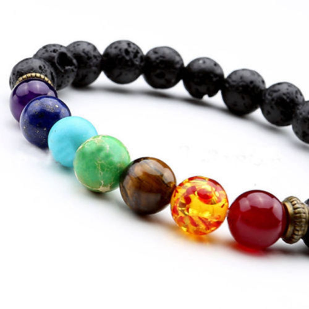 Chakra Beaded Bracelet with Natural Lava Stone