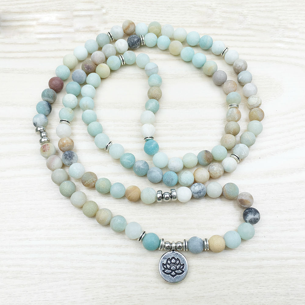 Natural Amazonite Lotus Mala