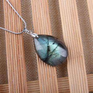 Natural Labradorite and Moonstone Pendant Necklace
