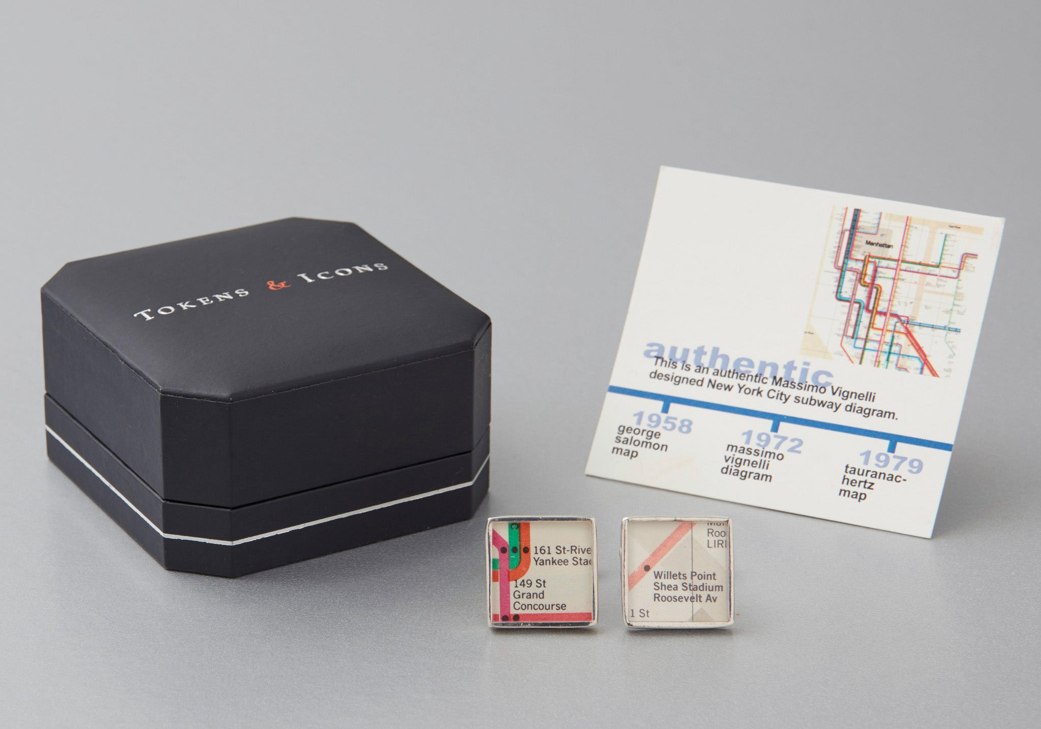 NEW YORK SUBWAY VIGNELLI DIAGRAM CUFF LINKS