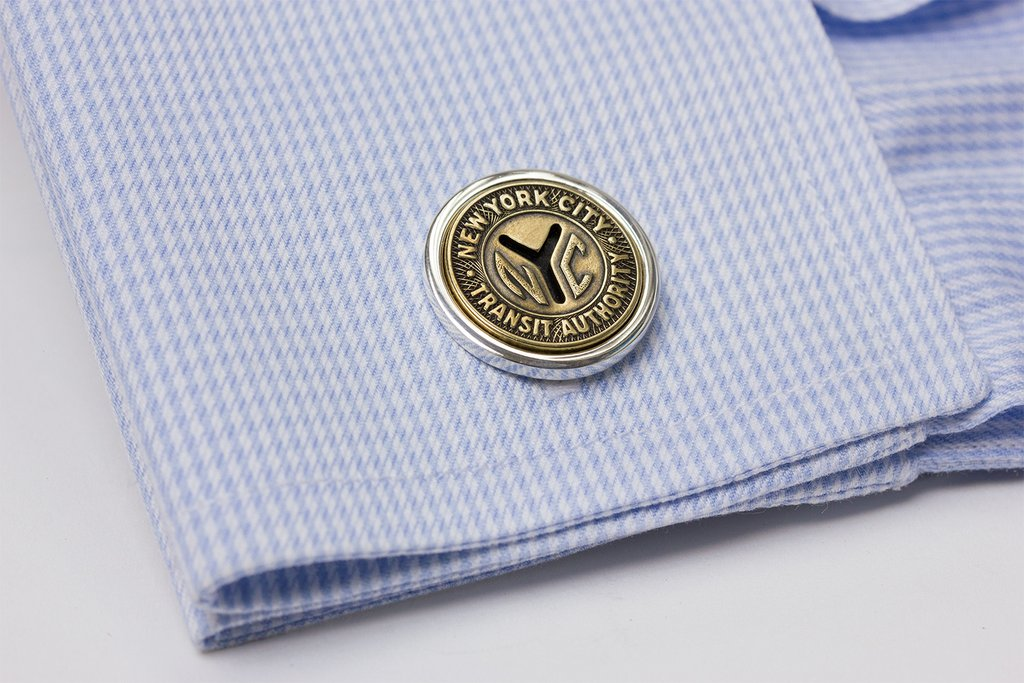 NY TRANSIT TOKEN CUFF LINKS