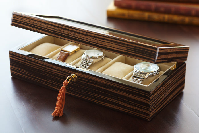 ZEBRAWOOD GLASS-TOP WATCH BOX