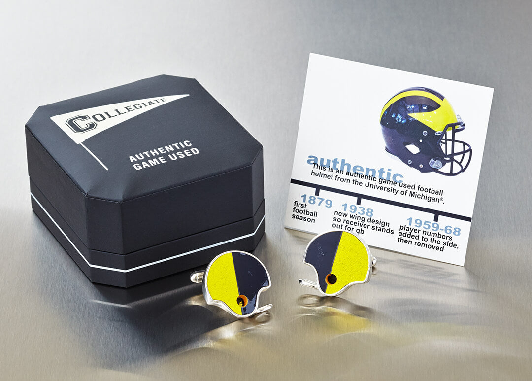 U OF MICHIGAN GAME-USED FOOTBALL HELMET CUFF LINKS