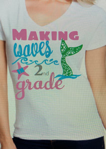 2nd grade shirt 19-20 with name on front design on back