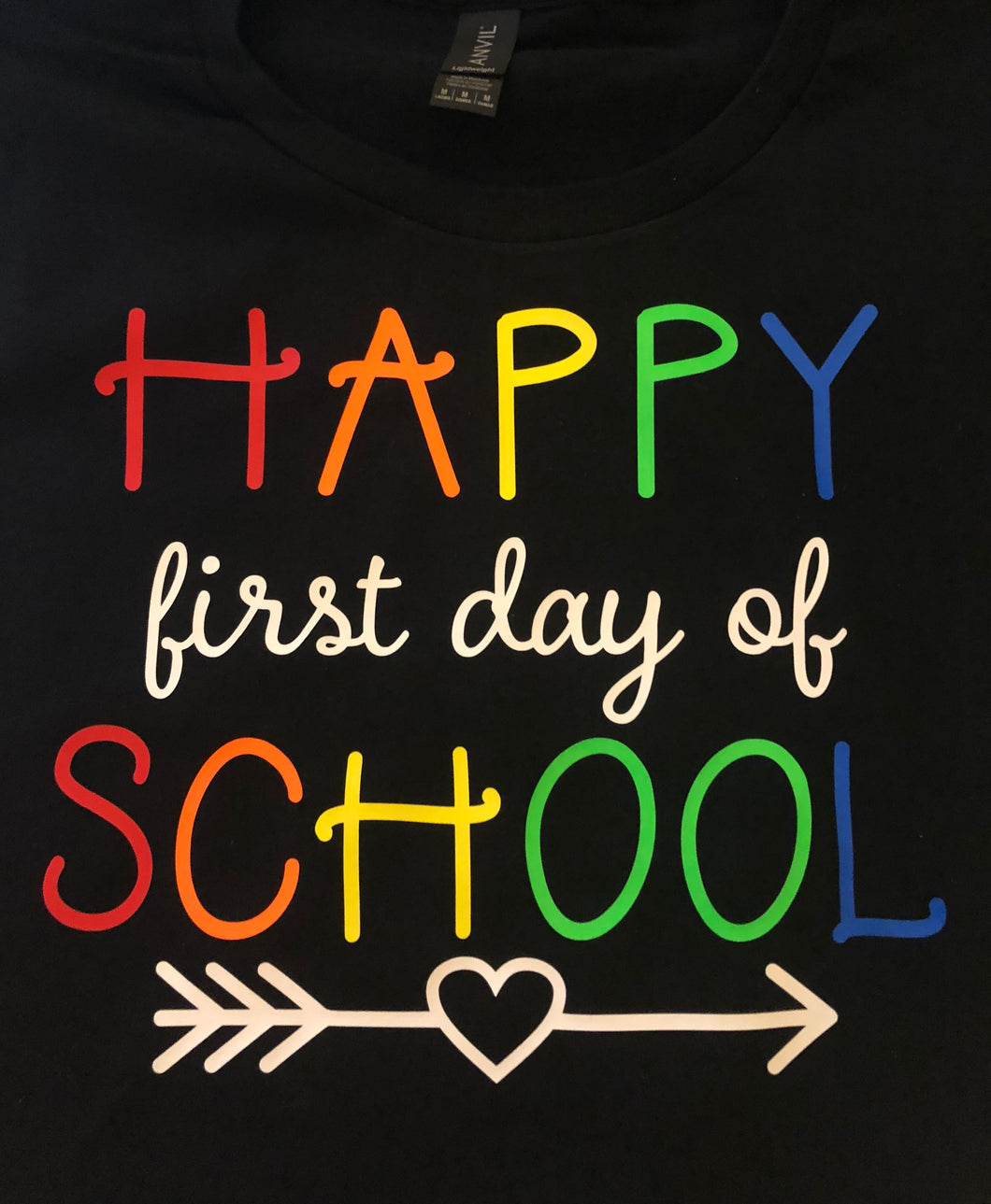 Happy first day of School shirt rainbow