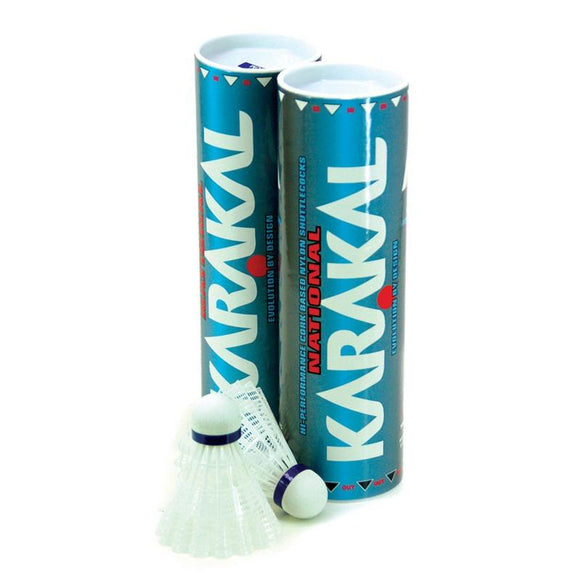Karakal National Nylon Shuttlecocks - Medium Blue x6 White