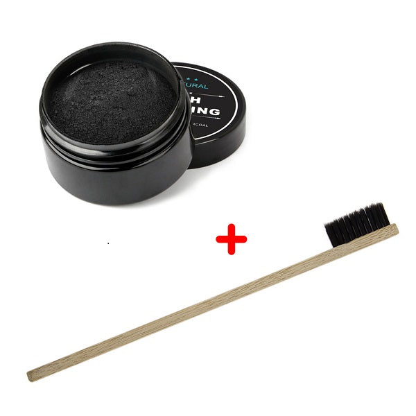 100% Natural Teeth Whitening Activated Organic Charcoal Powder Polish Teeth Clean Strengthen Enamel + Wood Toothbrush
