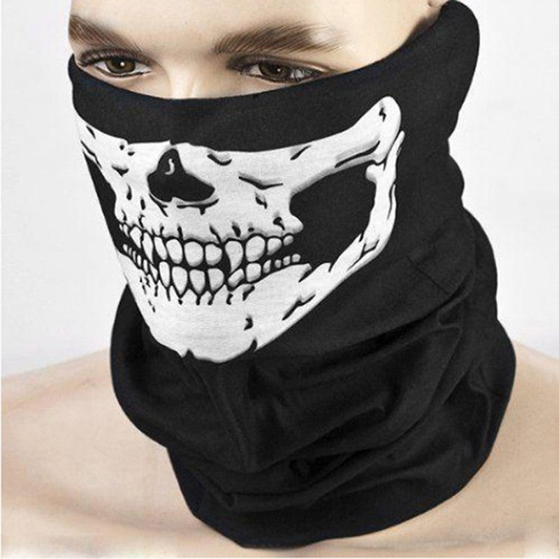 Black Skull Mask Bike Motorcycle Neck Face Mask Half Face