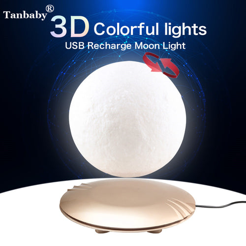 15cm 3D Print Magnetic Levitation Moon Lamp Floating LED Night Light Auto-Rotatable Decorative Moon Light