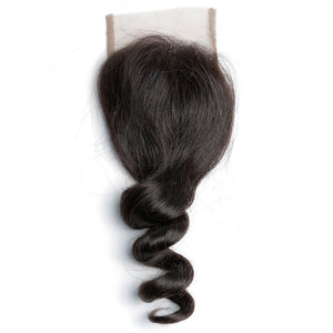 Raw Indian/Mink Natural Curl Virgin Human Hair Closures