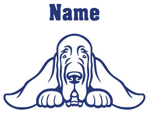 Blood Hound Peeking with Name car window decal