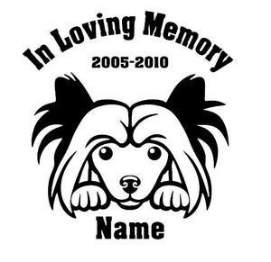 In Loving Memory Chinese Crest Powderpuff Peeking Dog with Name car window  decal