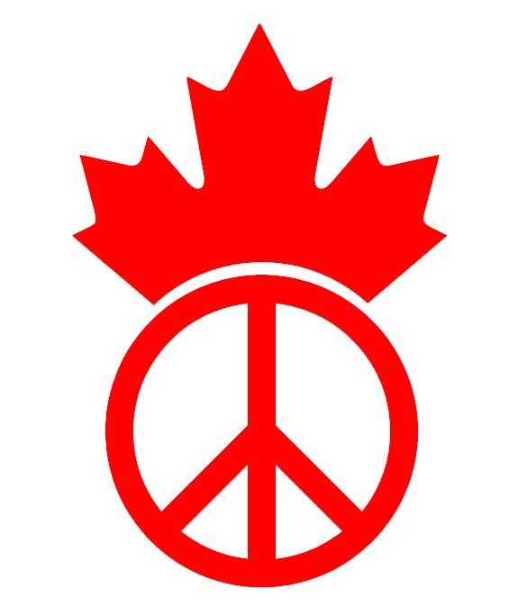 Canada Maple Leaf Peace Symbol Window Decal Singularcut