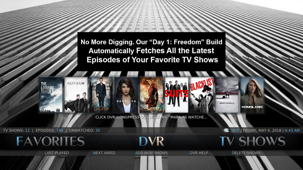 kodi free dvr sections record the latest tv shows commercial-free