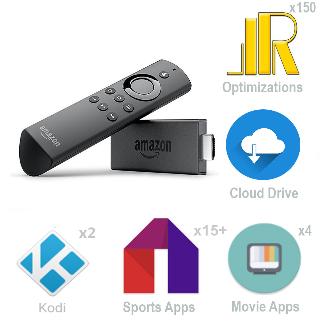 Jailbroken Amazon Fire TV Stick 2nd Gen w 2 Elite Kodi Builds 25+ Apps etc.
